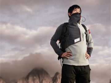 Updraft: The oxygen supply system for climbers that is integrated into the always-there fleece jacket.