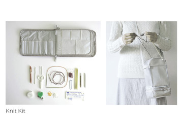 Knit Kit is a simple knitting organization solution. A case organizes the excessive knitting tools and a bag holds the yarn balls. Additional add-on pages make it easy to expand the collection.